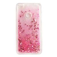 Чехол Glitter для Huawei P8 lite 2017 / P9 lite 2017 Бампер Жидкий блеск Сердце розовый УЦЕНКА