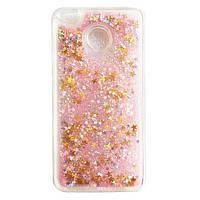 Чехол Glitter для Huawei P8 lite 2017 / P9 lite 2017 Бампер Жидкий блеск звезды Розовый УЦЕНКА