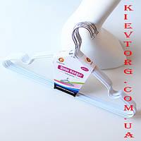 Плечики вешалки металлические в силиконовом покрытии белого цвета, 40 см
