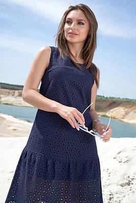 Легке літнє плаття трапецієподібне темно-синє
