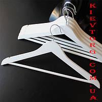 Плечики вешалки тремпеля деревянные белые для верхней одежды, платьев, костюмов, пиджаков, 5 шт, 44 см