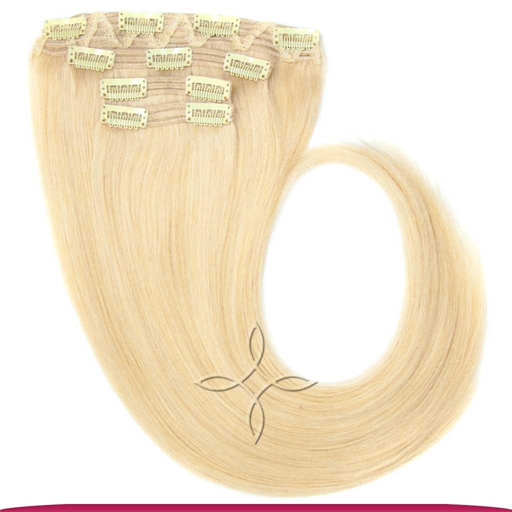 Натуральные Европейские Волосы на Заколках 55 см 110 грамм, Блонд №613