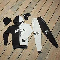 Зимний спортивный мужской костюм черный с белым + шапка +сенсорные перчатки S, M, L, XL