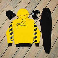 Зимний спортивный костюм мужской черный с желтым + шапка +сенсорные перчатки