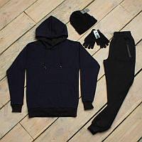 Зимний спортивный костюм мужской + шапка +сенсорные перчатки
