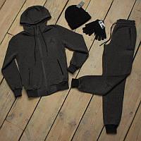 Зимний спортивный костюм Jordan мужской + шапка +сенсорные перчатки
