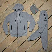Зимний спортивный костюм  мужской Jordan серый + шапка +сенсорные перчатки