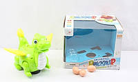 Динозавр,несет яйца, подсветка, звук, на батарейках, в коробке