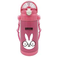 Детский термос термочашка Stenson Animal Кролик MT-2088 350 мл Розовый MT-2088P, КОД: 1249026