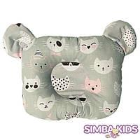 Ортопедическая подушка для младенца коты на сером фоне