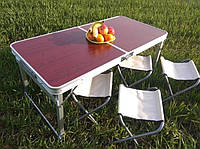 Стол складной туристический для пикника c 4 стульями  Raiberg RB-9300, фото 1