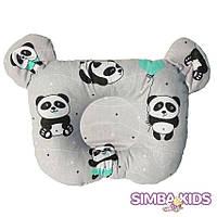 Ортопедическая подушка для младенца панда на сером фоне