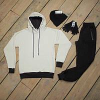 Зимний спортивный костюм мужской  черный с белым + шапка +сенсорные перчатки