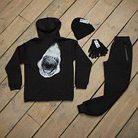 Зимний спортивный костюм мужской Акула черный + шапка +сенсорные перчатки