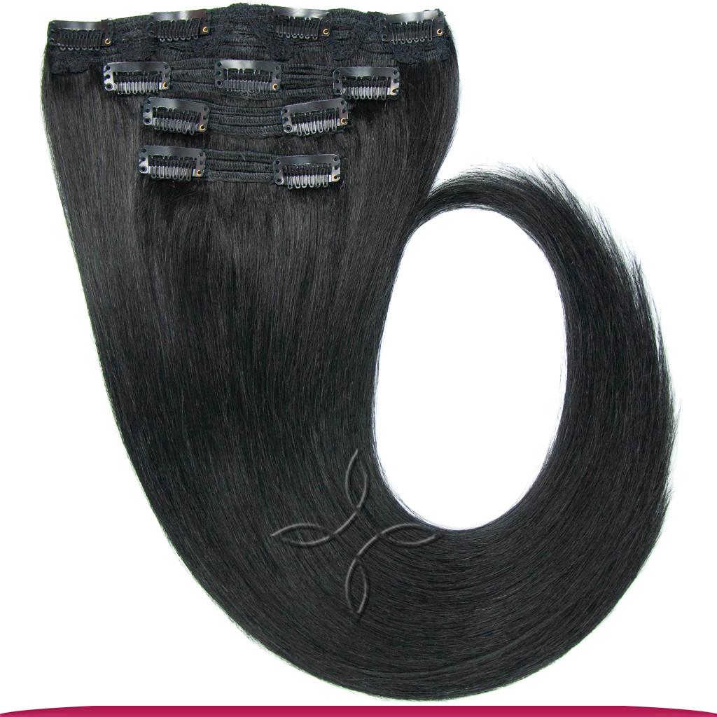 Натуральные Европейские Волосы на Заколках 40 см 110 грамм, Черный №01