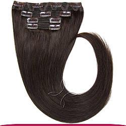 Натуральне Європейське Волосся на Заколках 40 см 110 грам, Шоколад №02