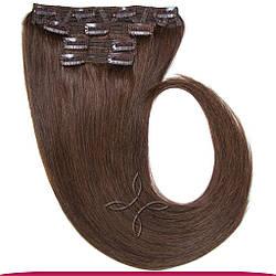 Натуральне Європейське Волосся на Заколках 40 см 110 грам, Шоколад №04