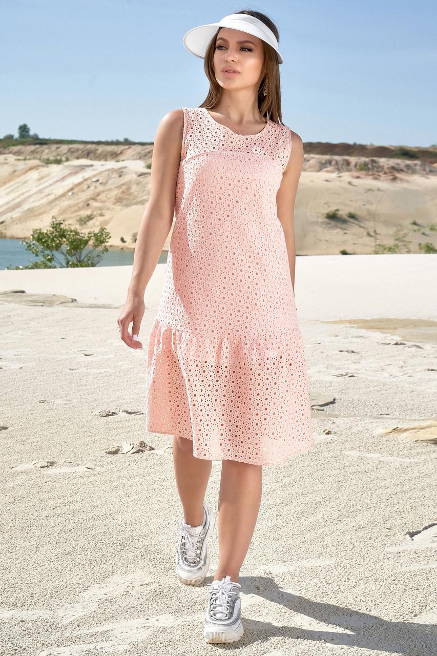 Повседневное летнее персиковое платье