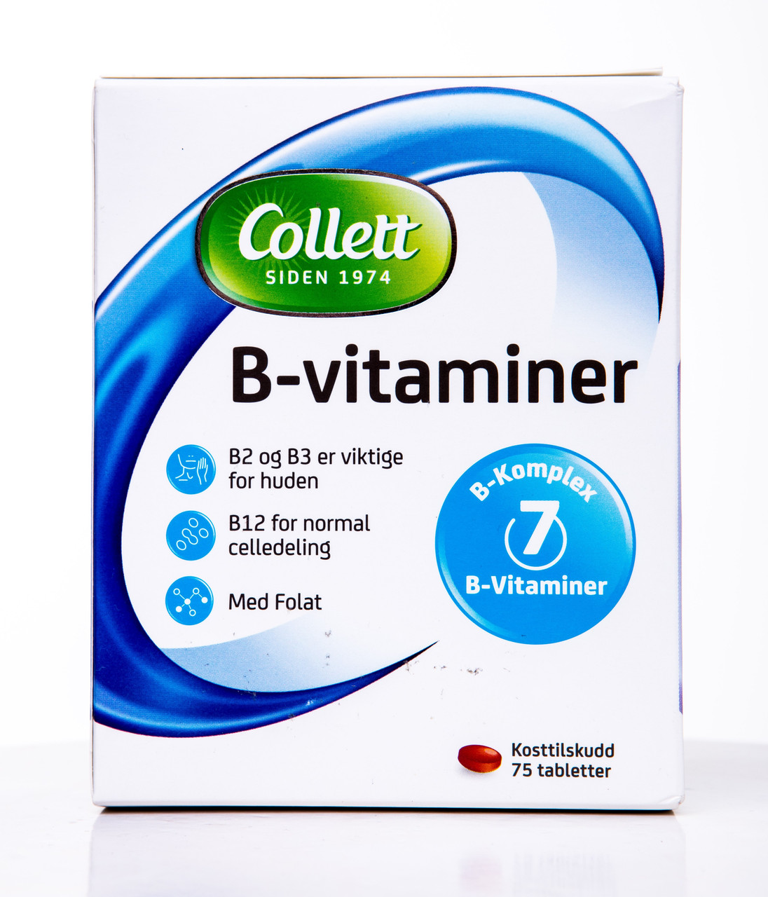 Витамин B2, B3, B12 (фолат),Collett, B-vitaminer, 75 таблеток, Норвегия