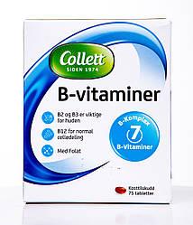 Витамин B2, B3, B12 (фолат), Collett, B-vitaminer, 75 таблеток, Норвегия