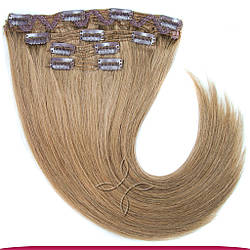 Натуральне Європейське Волосся на Заколках 40 см 110 грам, Світло-Русявий №14