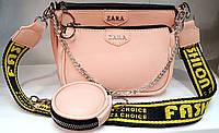 Женская маленькая пудровая сумочка на широком ремешке Zara с клатчем и кошельком 24*17 см, клатч 19*13 см