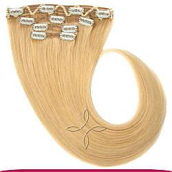 Натуральне Європейське Волосся на Заколках 40 см 120 грам, Світло-Русявий №16M