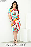 Принтована літній пряме плаття у великих розмірах з поясом 1mbr703