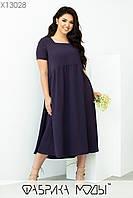 Літнє плаття міді у великих розмірах з розкльошеною спідницею і коротким рукавом 1mbr704