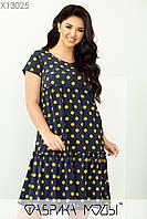 Літнє плаття трапеція у великих розмірах з оборкою і коротким рукавом 1mbr705