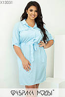Коротке плаття сорочка у великих розмірах принт з рукавом до ліктя 1mbr707