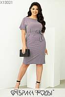 Платье летнее под пояс в больших размерах с мелким узором и коротким рукавом 1mbr708