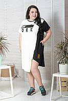 Спортивне літнє плаття у великих розмірах з асиметрією і коротким рукавом 10mbr712