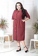 Літній лляне плаття сорочка у великих розмірах довжиною міді з рукавом до ліктя 10mbr713