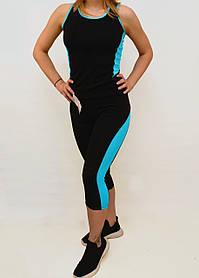Майка і шорти жіночі з яскравими вставками S - XL Костюм жіночий для фітнесу Ластівка