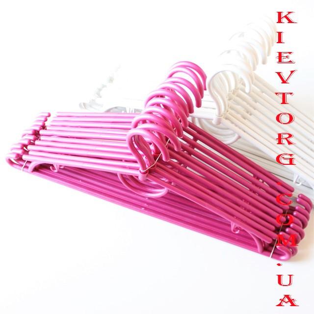 Вешалки плечики тремпеля пластиковые розовые для одежды, костюмов, блузок, платьев в шкаф, 42 см, 10 шт