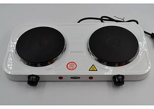 Дисковая электроплита на две конфорки с регулятором мощности белого цвета Wimpex WX-200A-HP, фото 2