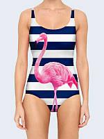 Женский купальник с принтом Розовый фламинго