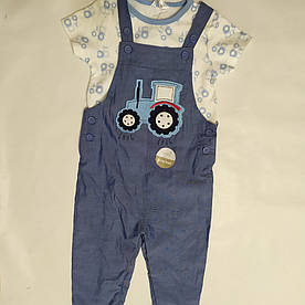 Костюм для мальчика штаны-комбинезон и футболка M&Co baby р.9-12мес (80см)