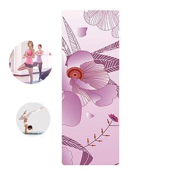 Коврик для фитнеса и йоги Meileer rubb-22 Фиолетовый лотос 1830*680*4mm йогамат для упражнений