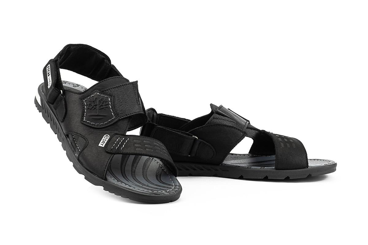Мужские сандали кожаные летние черные-серые