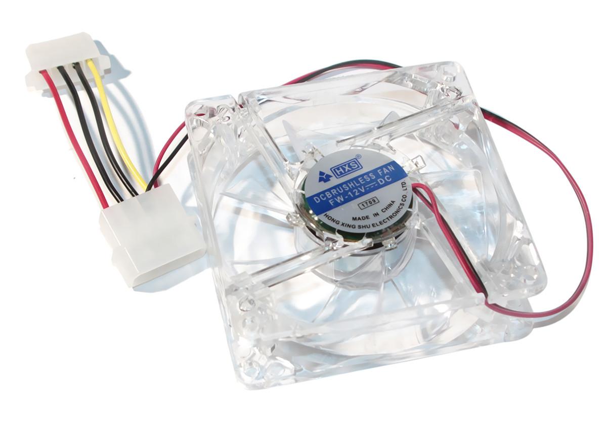 Кулер для корпуса 80 mm Merlion 8025 прозрачный DC sleeve fan 4pin - 80*80*25мм, 1500об/мин (CC-80*80*25/4)