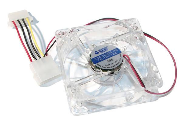 Кулер для корпуса 80 mm Merlion 8025 прозрачный DC sleeve fan 4pin - 80*80*25мм, 1500об/мин (CC-80*80*25/4), фото 2