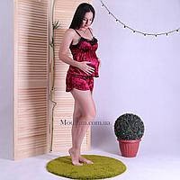 """Пижама с бархатного велюра топ с шортами для беременных и кормящих мам """"Золотая карамель"""" р. S M L"""