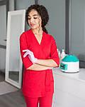 Красный женский костюм врача на запах, фото 2