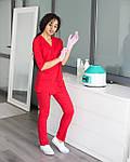 Красный женский костюм врача на запах, фото 4