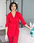 Красный женский костюм врача на запах, фото 6