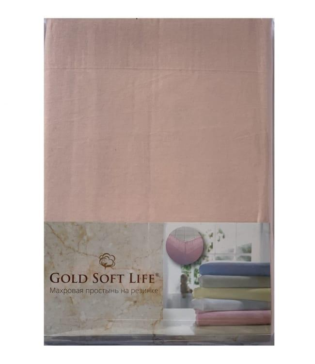 Простирадло Gold Soft Life Terry Fitted Sheet 180*200*20см трикотажна на резинці персикова арт.ts-02029