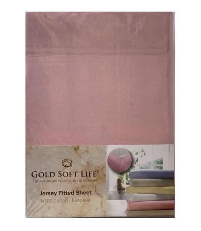 Простынь Gold Soft Life Terry Fitted Sheet 180*200*20см трикотажная на резинке розовая арт.ts-02031, фото 2