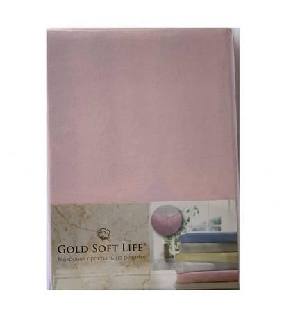 Простынь Gold Soft Life Terry Fitted Sheet 180*200*20см трикотажная на резинке светло розовая арт.ts-02032, фото 2